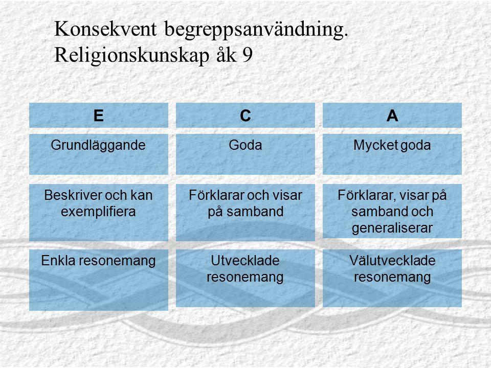 Konsekvent begreppsanvändning. Religionskunskap åk 9