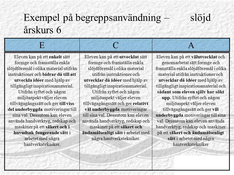 Exempel på begreppsanvändning – slöjd årskurs 6