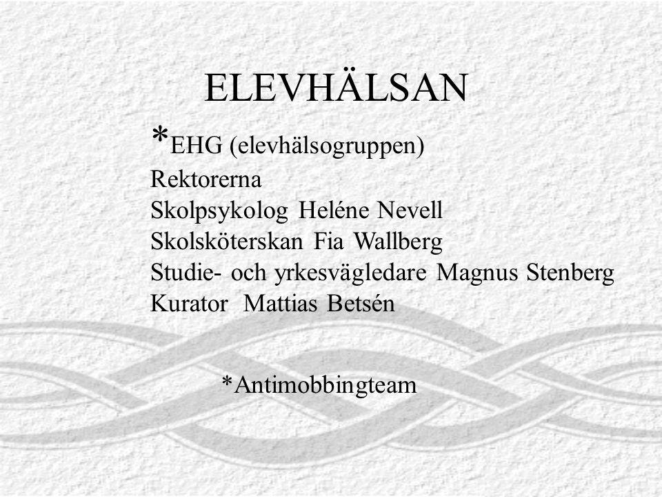 ELEVHÄLSAN *EHG (elevhälsogruppen) Rektorerna Skolpsykolog Heléne Nevell Skolsköterskan Fia Wallberg Studie- och yrkesvägledare Magnus Stenberg.