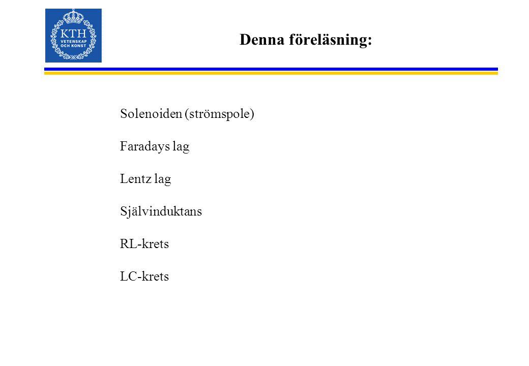 Denna föreläsning: Solenoiden (strömspole) Faradays lag Lentz lag