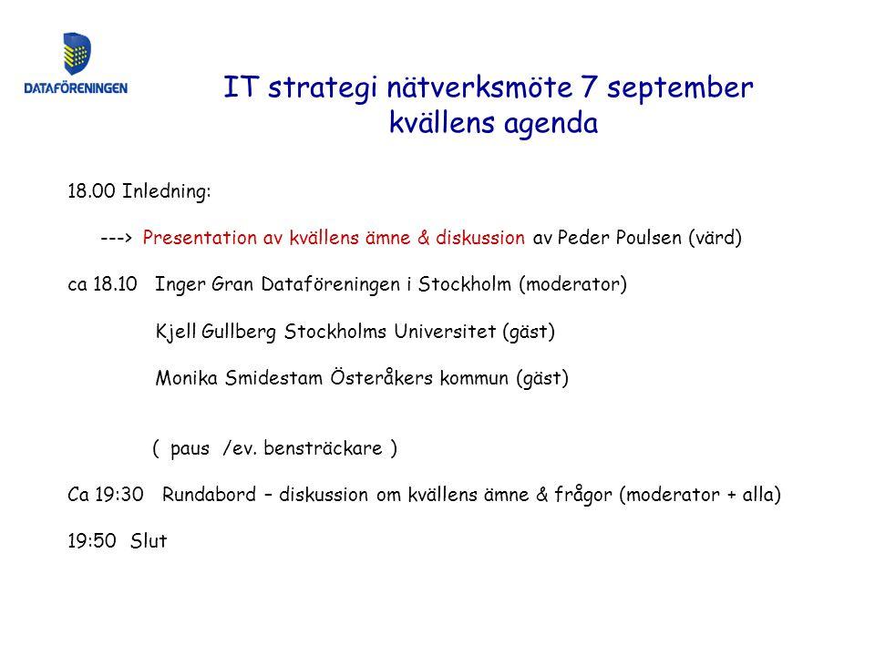 IT strategi nätverksmöte 7 september kvällens agenda