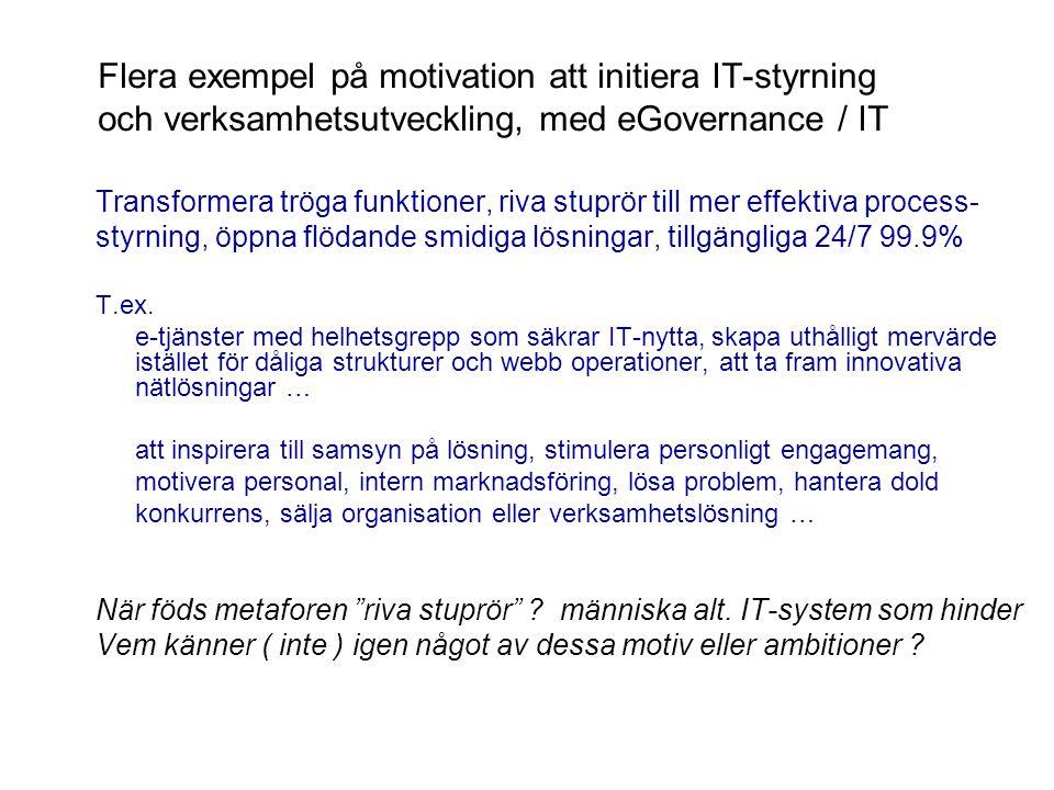 Flera exempel på motivation att initiera IT-styrning och verksamhetsutveckling, med eGovernance / IT
