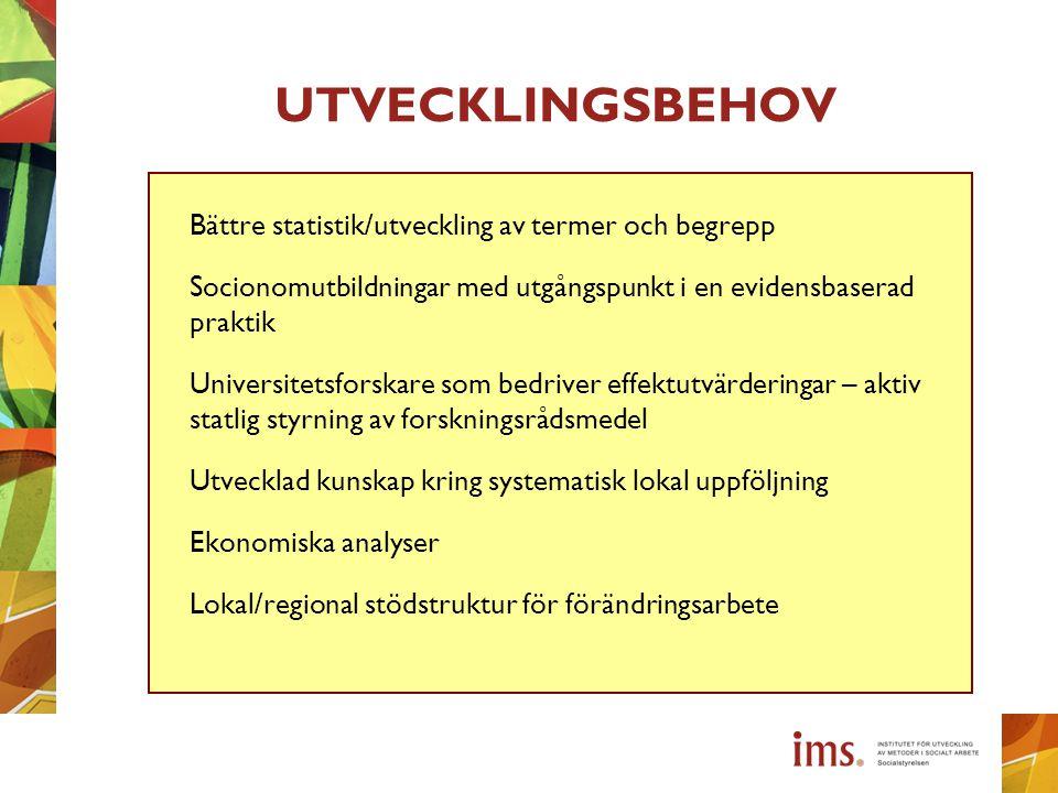 UTVECKLINGSBEHOV Bättre statistik/utveckling av termer och begrepp