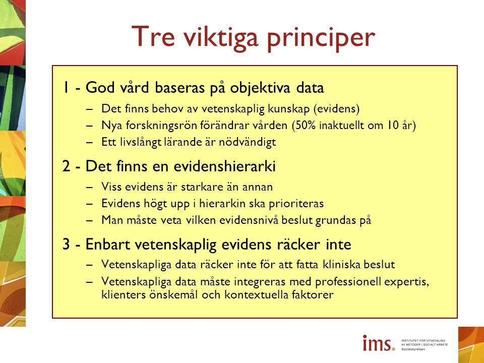 Tre viktiga principer 1 - God vård baseras på objektiva data