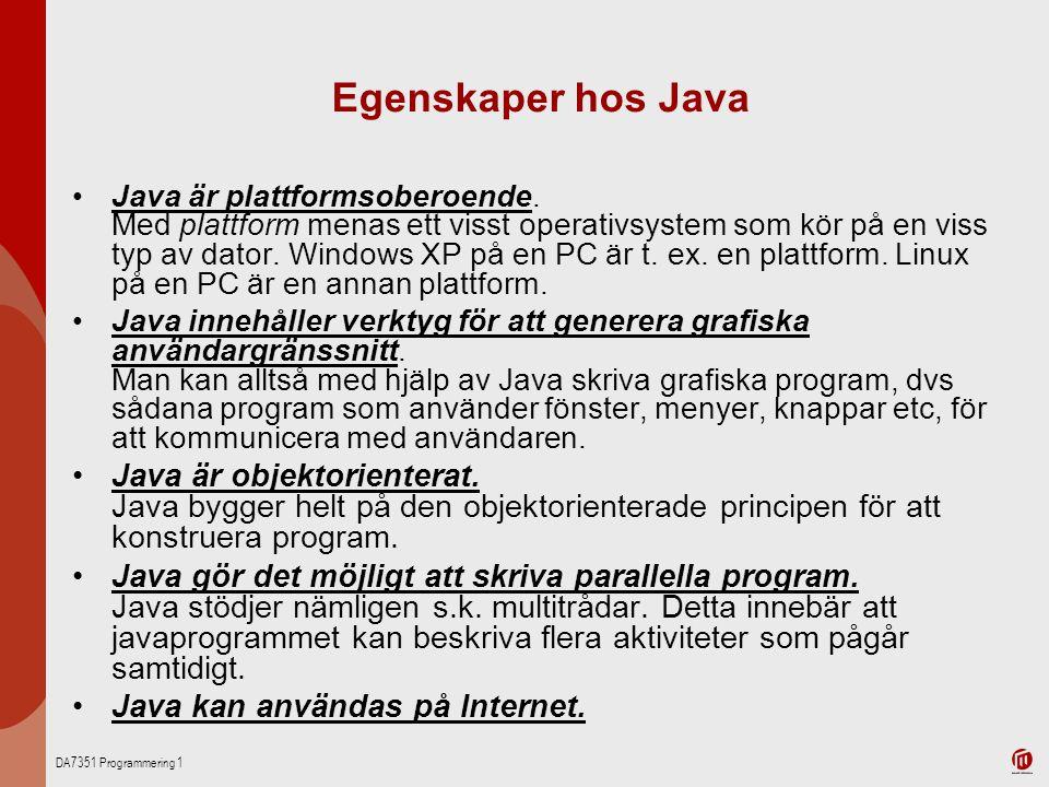 Egenskaper hos Java