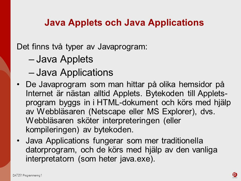Java Applets och Java Applications