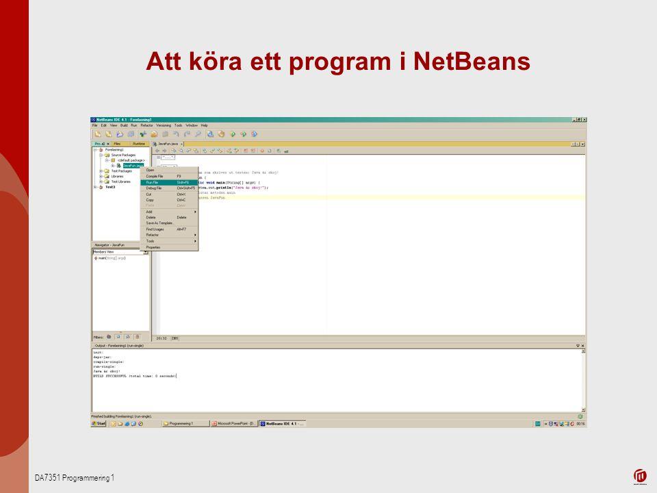 Att köra ett program i NetBeans