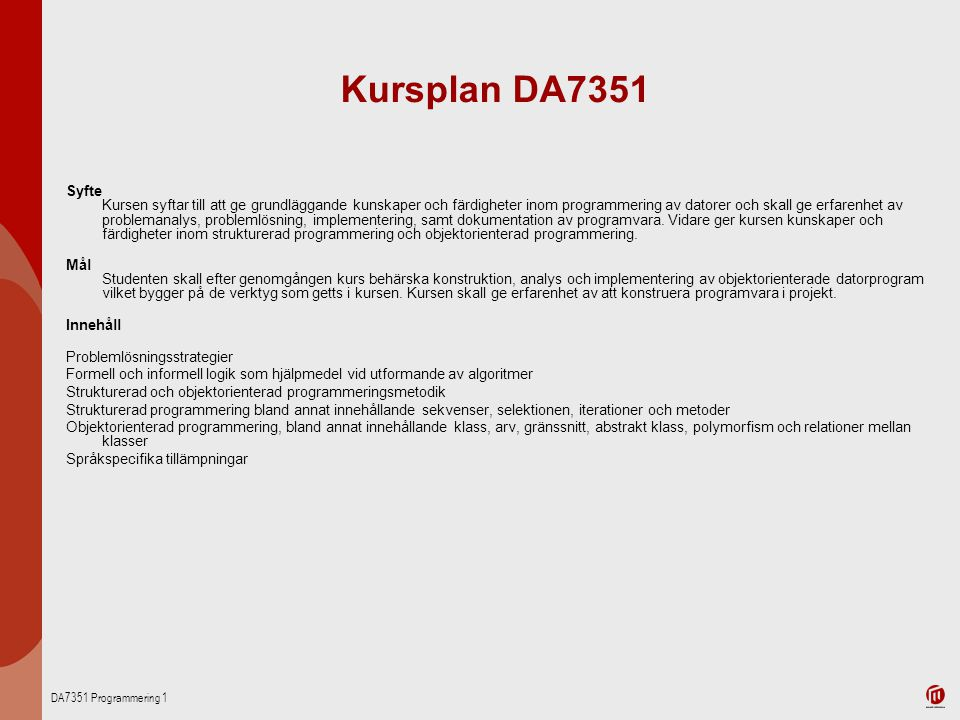 Kursplan DA7351