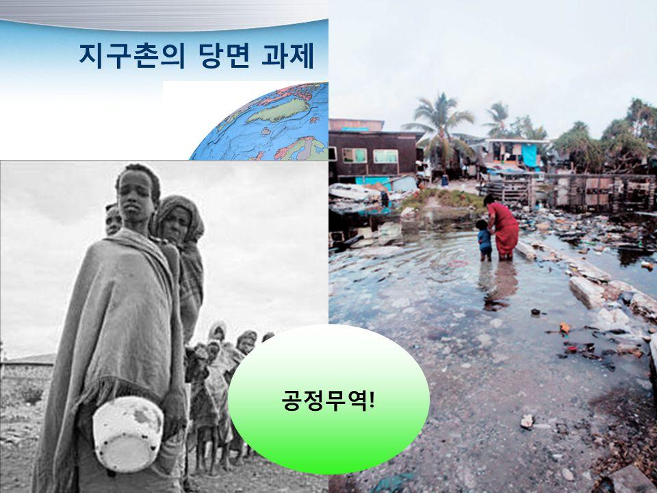 지구촌의 당면 과제 빈곤 문제 환경 문제 공정무역!