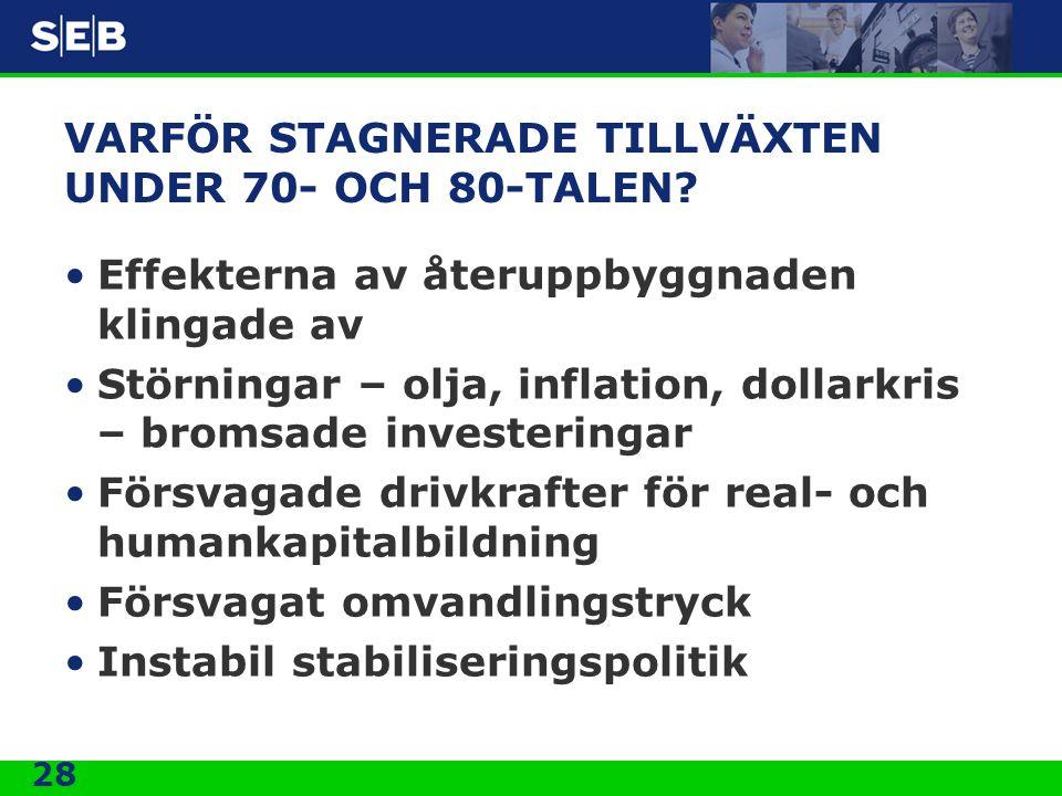 VARFÖR STAGNERADE TILLVÄXTEN UNDER 70- OCH 80-TALEN