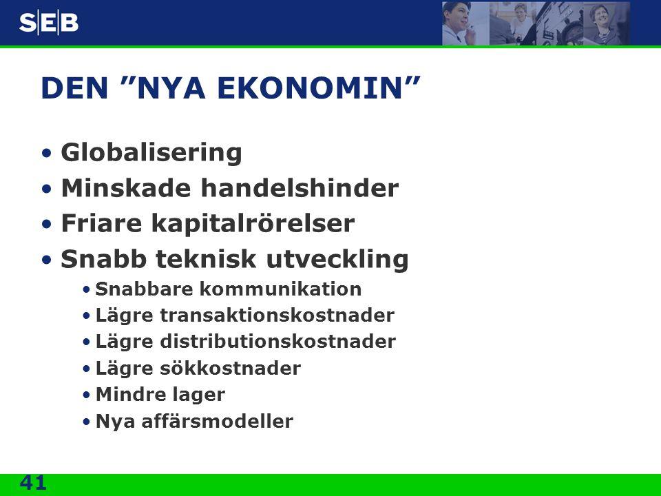 DEN NYA EKONOMIN Globalisering Minskade handelshinder