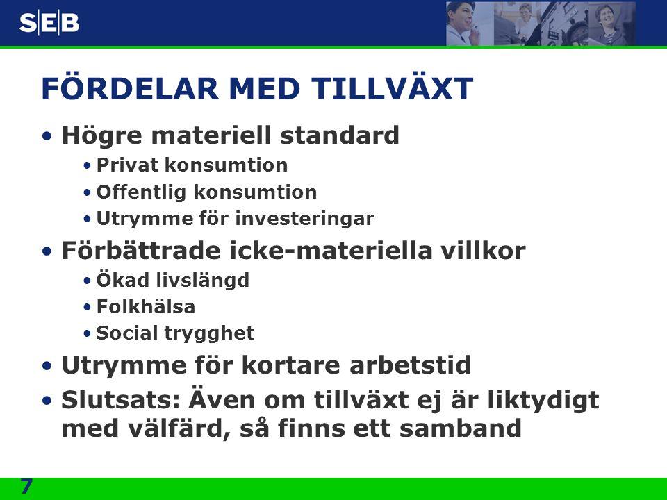 FÖRDELAR MED TILLVÄXT Högre materiell standard
