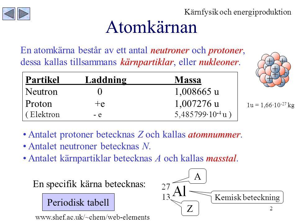 Atomkärnan En atomkärna består av ett antal neutroner och protoner,