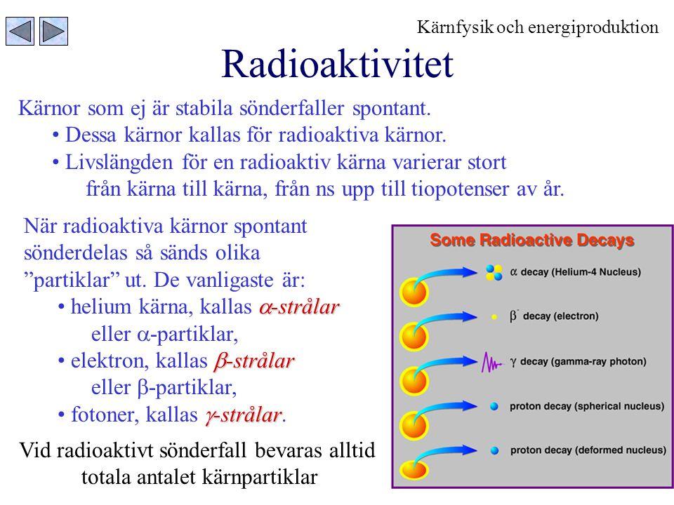 Radioaktivitet Kärnor som ej är stabila sönderfaller spontant.