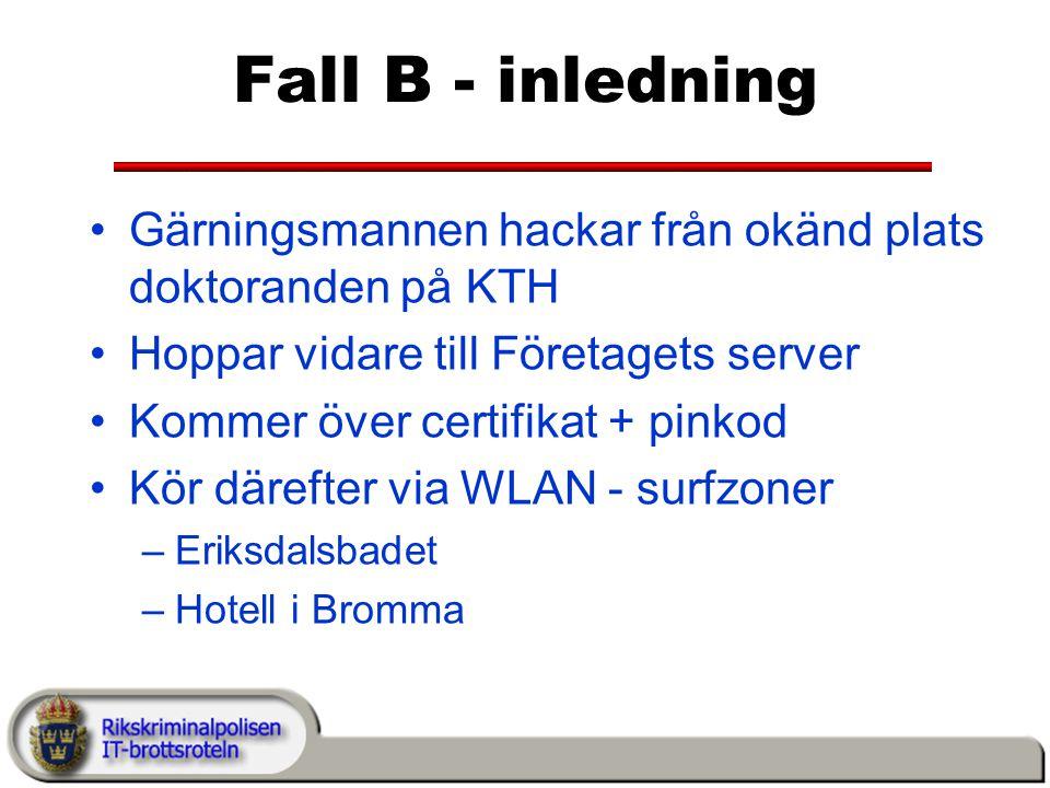 Fall B - inledning Gärningsmannen hackar från okänd plats doktoranden på KTH. Hoppar vidare till Företagets server.