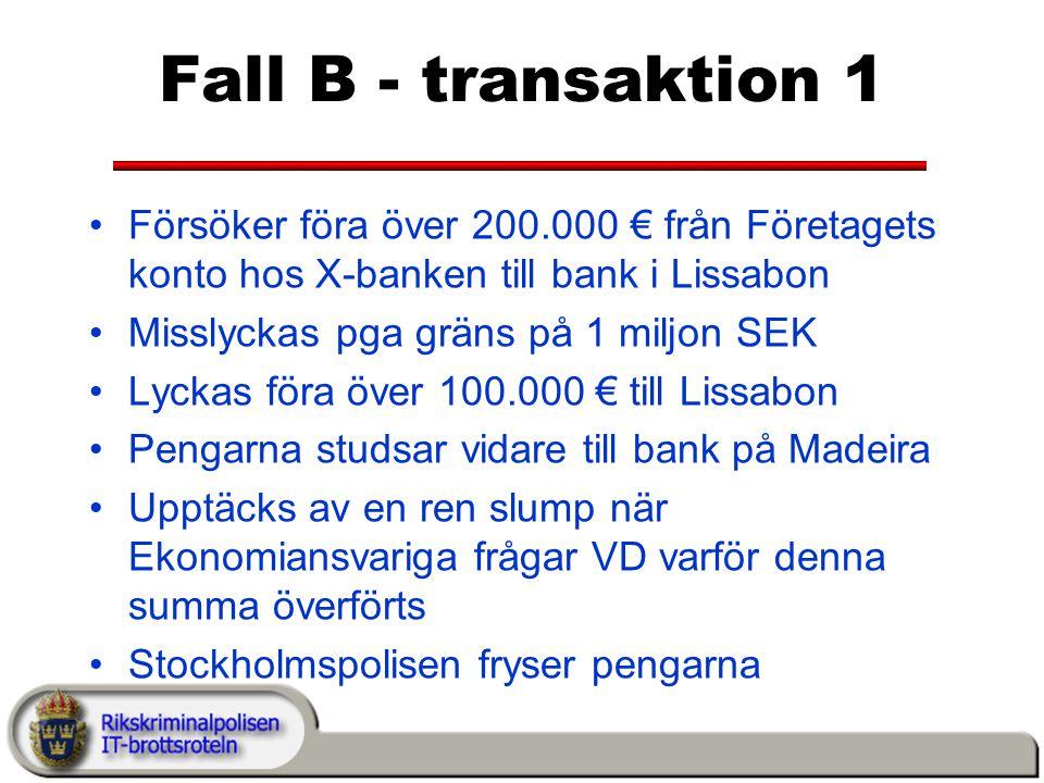 Fall B - transaktion 1 Försöker föra över 200.000 € från Företagets konto hos X-banken till bank i Lissabon.