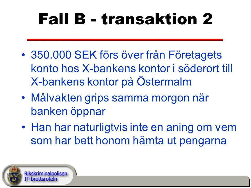 Fall B - transaktion 2 350.000 SEK förs över från Företagets konto hos X-bankens kontor i söderort till X-bankens kontor på Östermalm.
