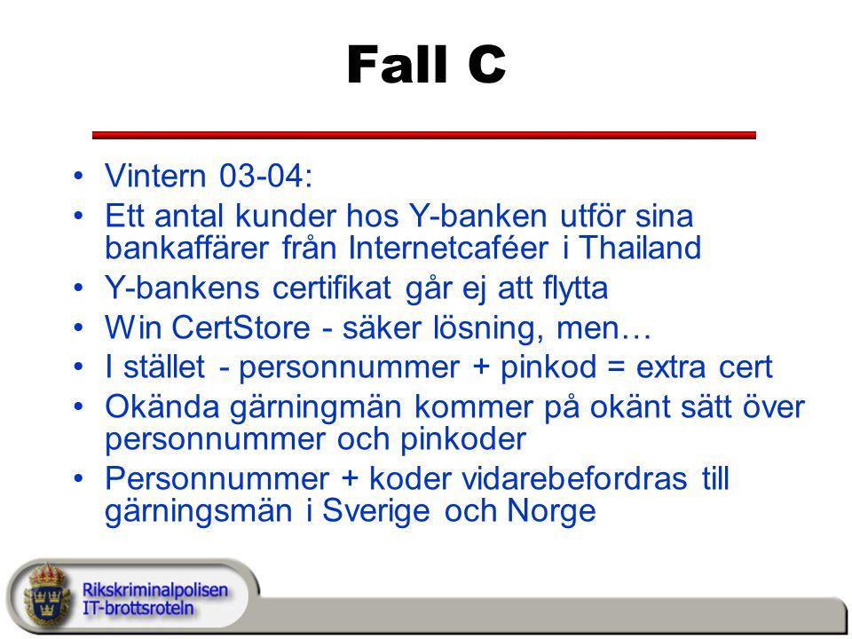 Fall C Vintern 03-04: Ett antal kunder hos Y-banken utför sina bankaffärer från Internetcaféer i Thailand.