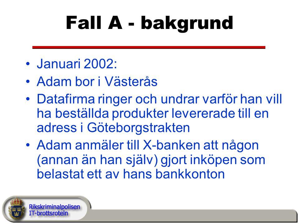 Fall A - bakgrund Januari 2002: Adam bor i Västerås