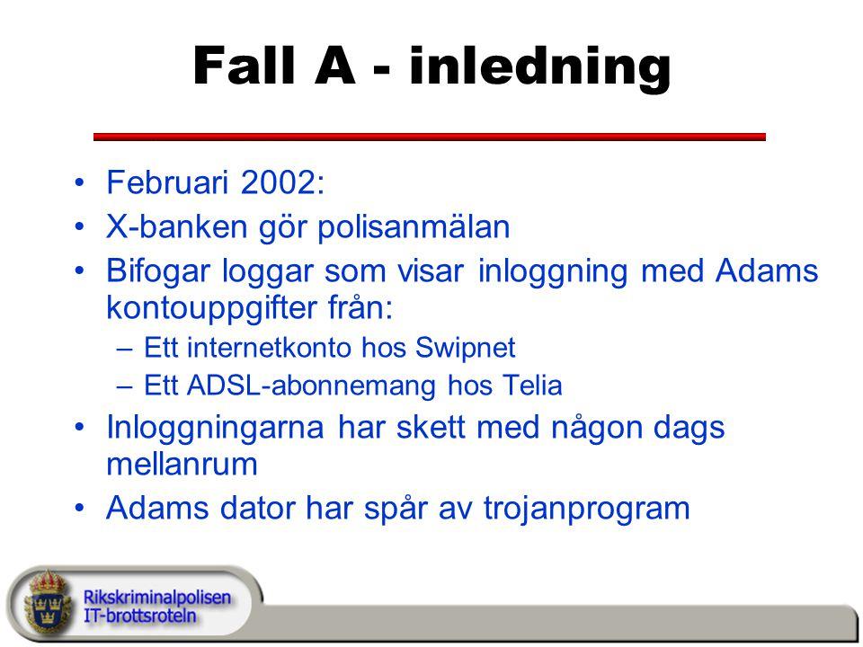 Fall A - inledning Februari 2002: X-banken gör polisanmälan