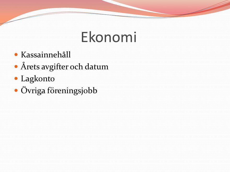 Ekonomi Kassainnehåll Årets avgifter och datum Lagkonto