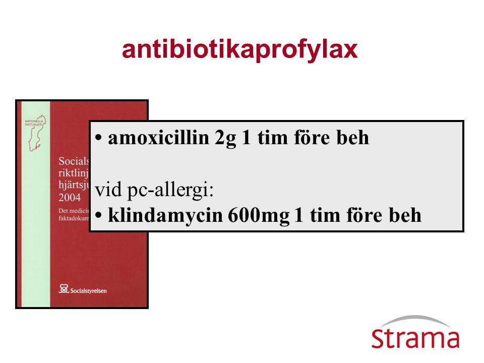 antibiotikaprofylax • amoxicillin 2g 1 tim före beh vid pc-allergi: