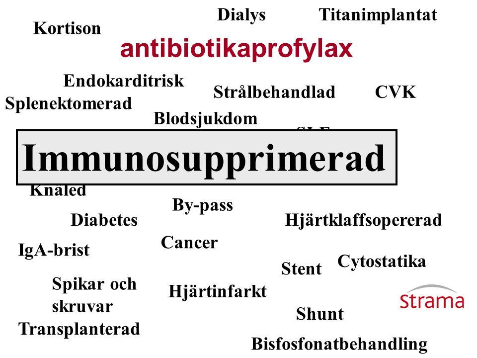 Immunosupprimerad antibiotikaprofylax Dialys Titanimplantat Kortison