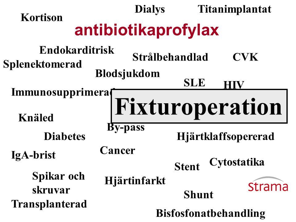Fixturoperation antibiotikaprofylax Dialys Titanimplantat Kortison
