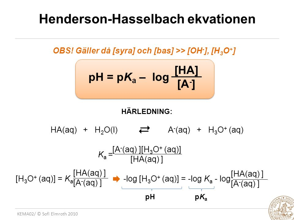 Henderson-Hasselbach ekvationen