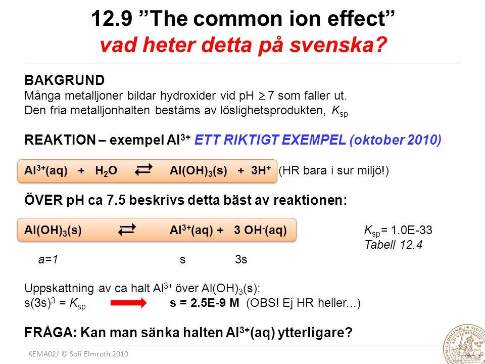 12.9 The common ion effect vad heter detta på svenska