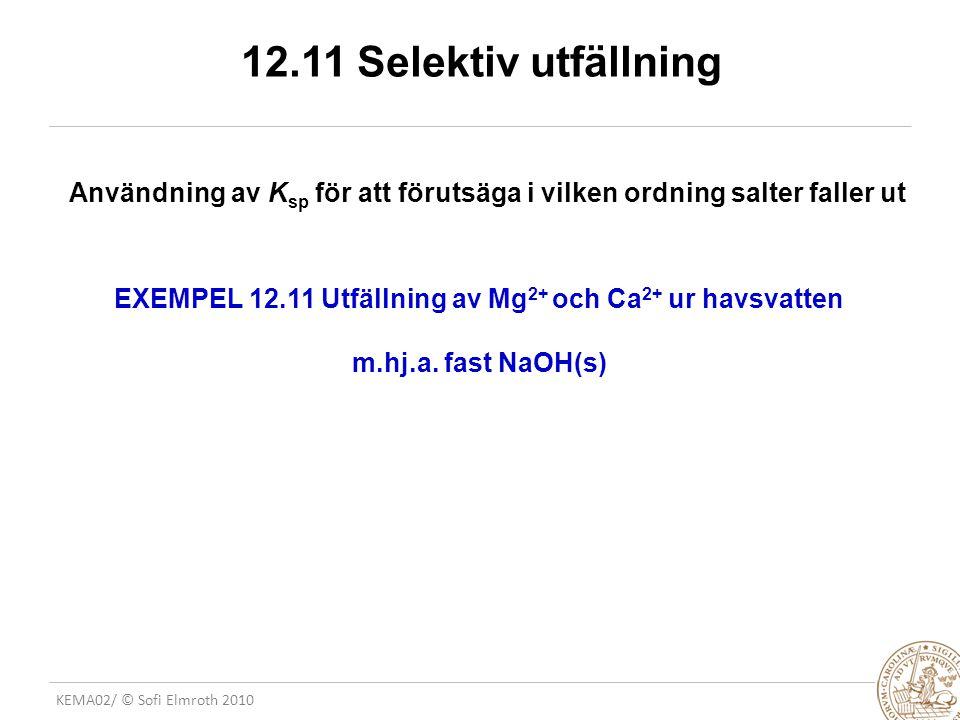 12.11 Selektiv utfällning Användning av Ksp för att förutsäga i vilken ordning salter faller ut.