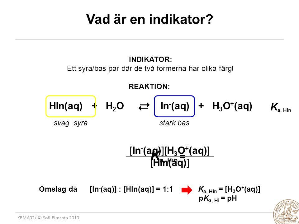 HIn(aq) + H2O In-(aq) + H3O+(aq)