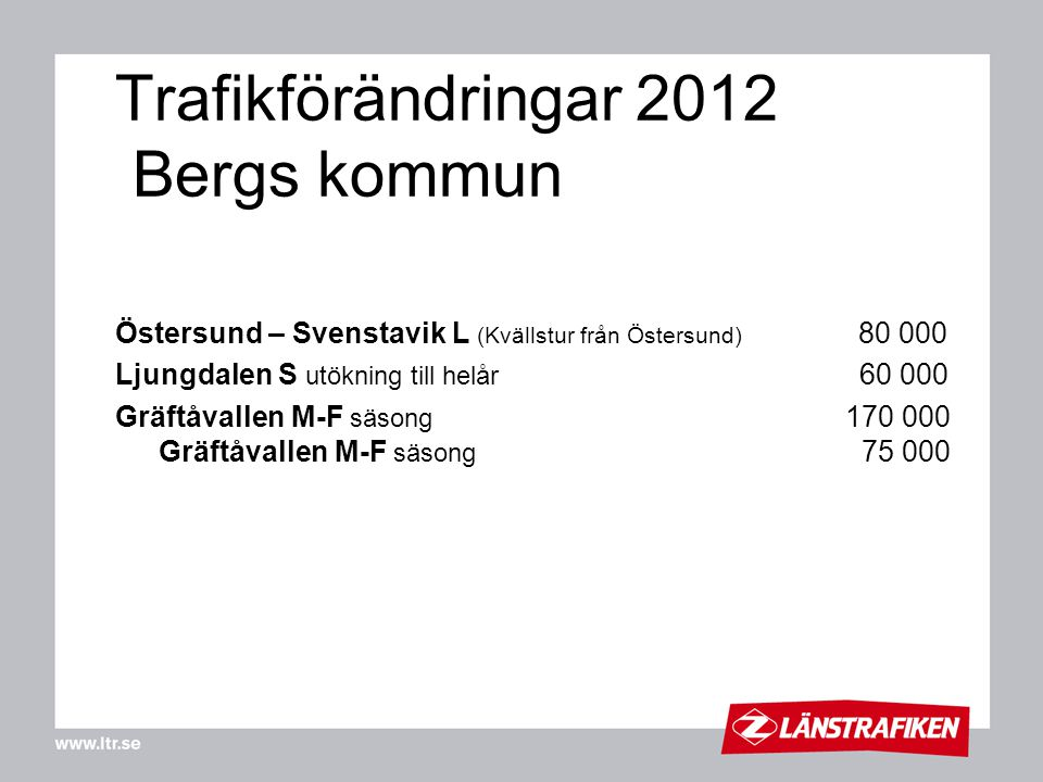 Trafikförändringar 2012 Bergs kommun