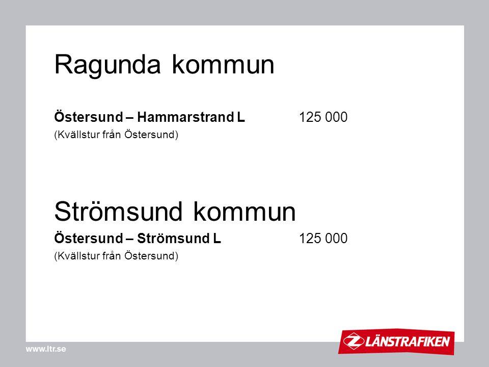 Ragunda kommun Strömsund kommun Östersund – Hammarstrand L 125 000