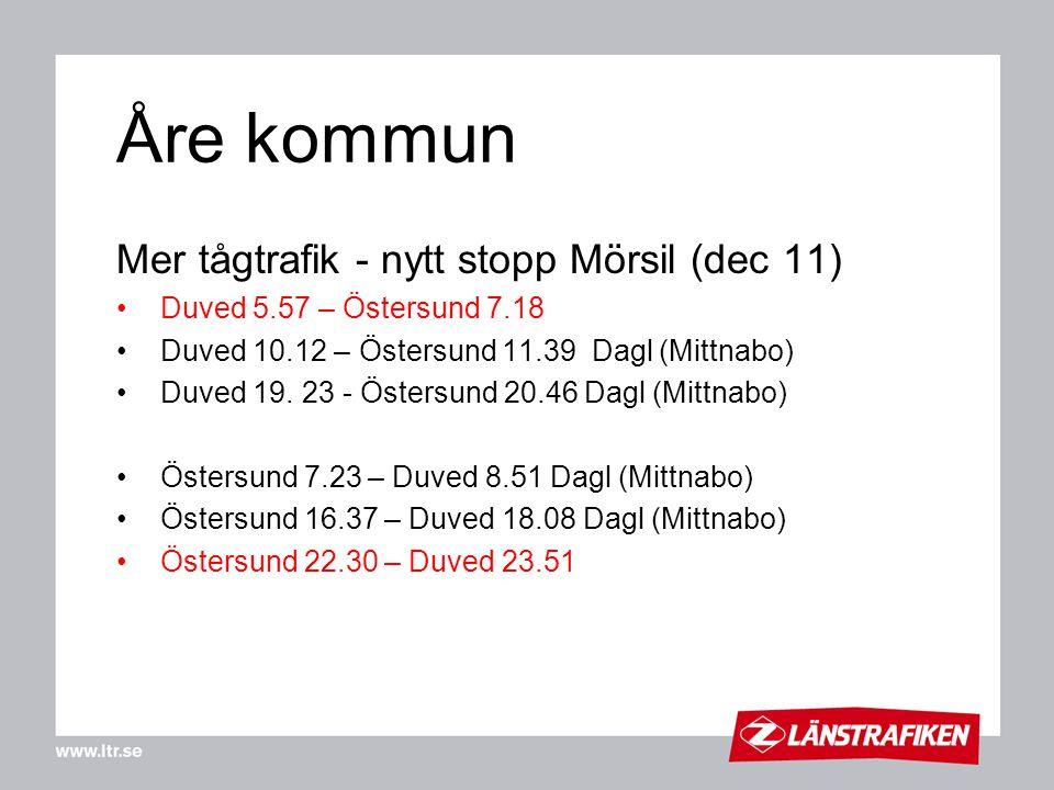 Åre kommun Mer tågtrafik - nytt stopp Mörsil (dec 11)