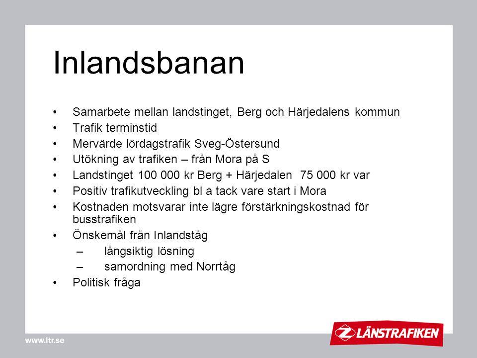 Inlandsbanan Samarbete mellan landstinget, Berg och Härjedalens kommun