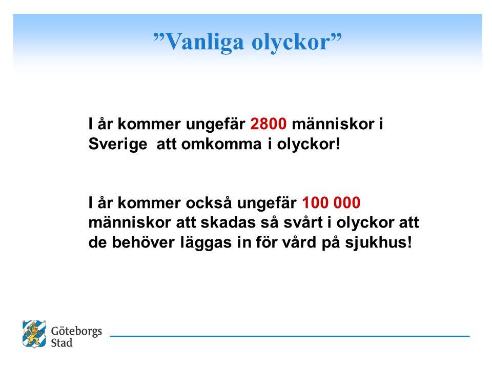 Vanliga olyckor I år kommer ungefär 2800 människor i Sverige att omkomma i olyckor!
