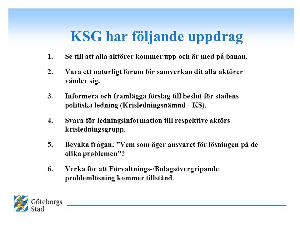 KSG har följande uppdrag