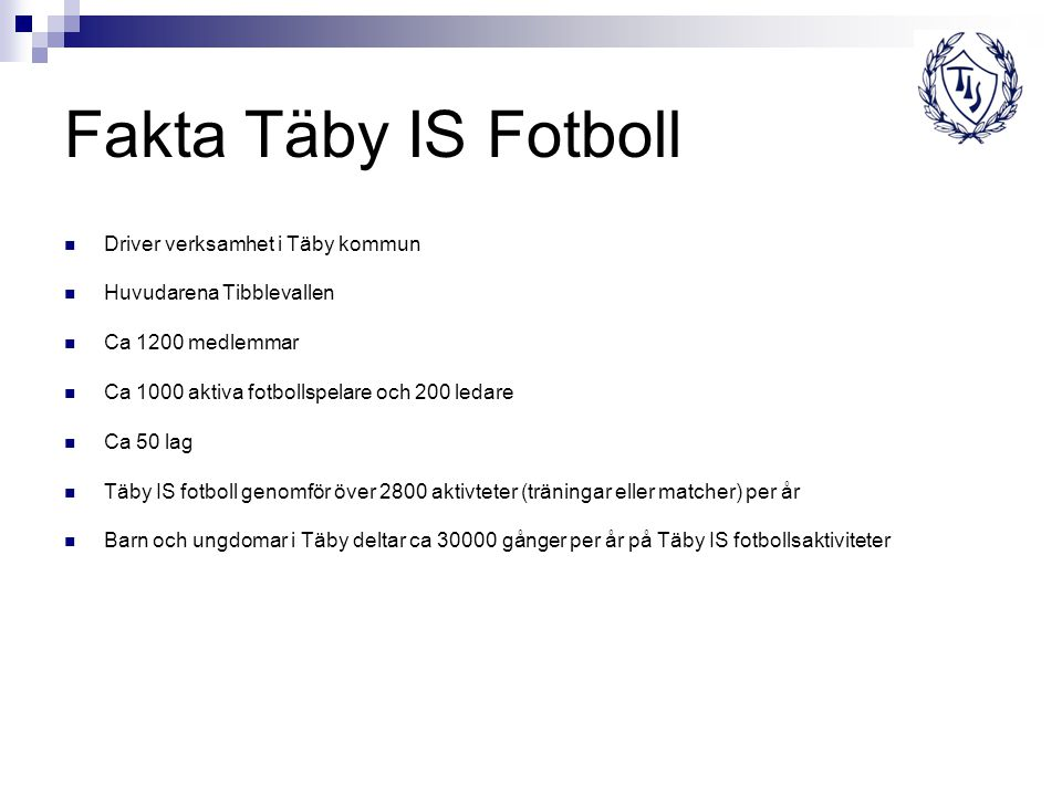 Fakta Täby IS Fotboll Driver verksamhet i Täby kommun