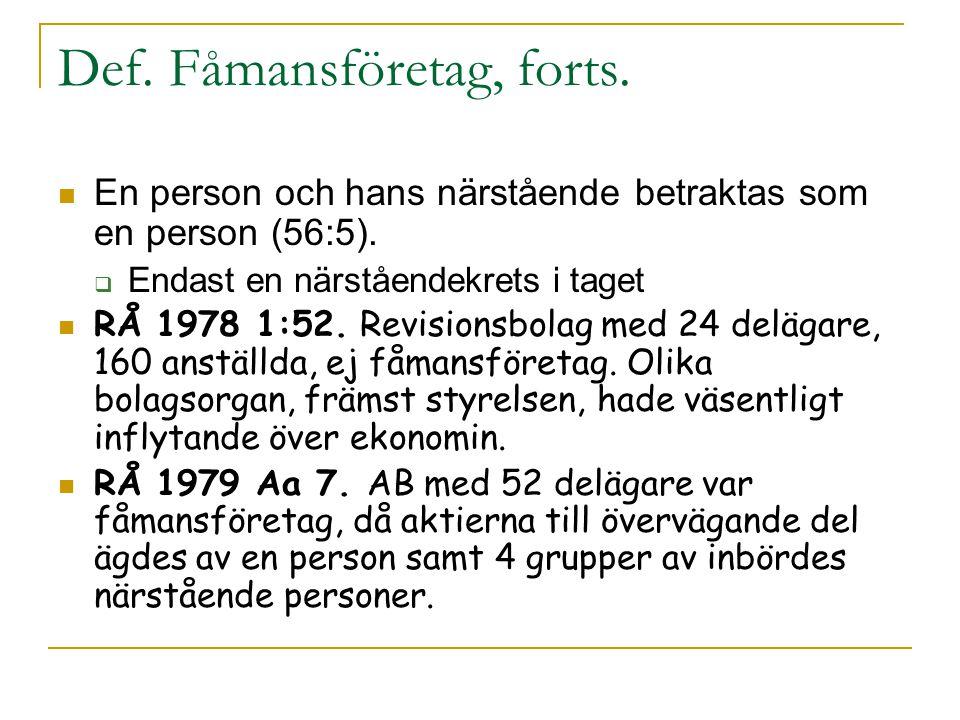 Def. Fåmansföretag, forts.