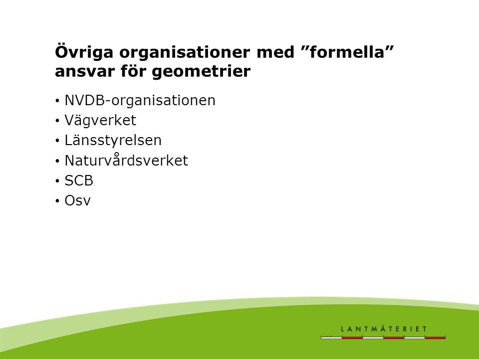 Övriga organisationer med formella ansvar för geometrier