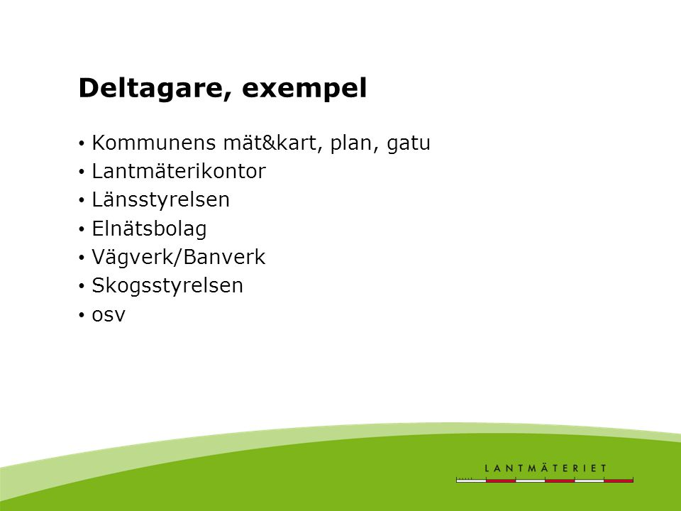Deltagare, exempel Kommunens mät&kart, plan, gatu Lantmäterikontor