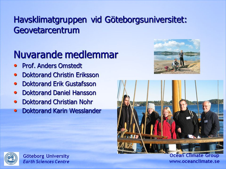 Havsklimatgruppen vid Göteborgsuniversitet: Geovetarcentrum