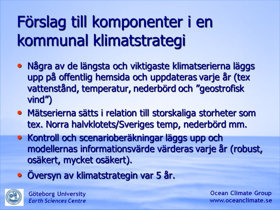 Förslag till komponenter i en kommunal klimatstrategi
