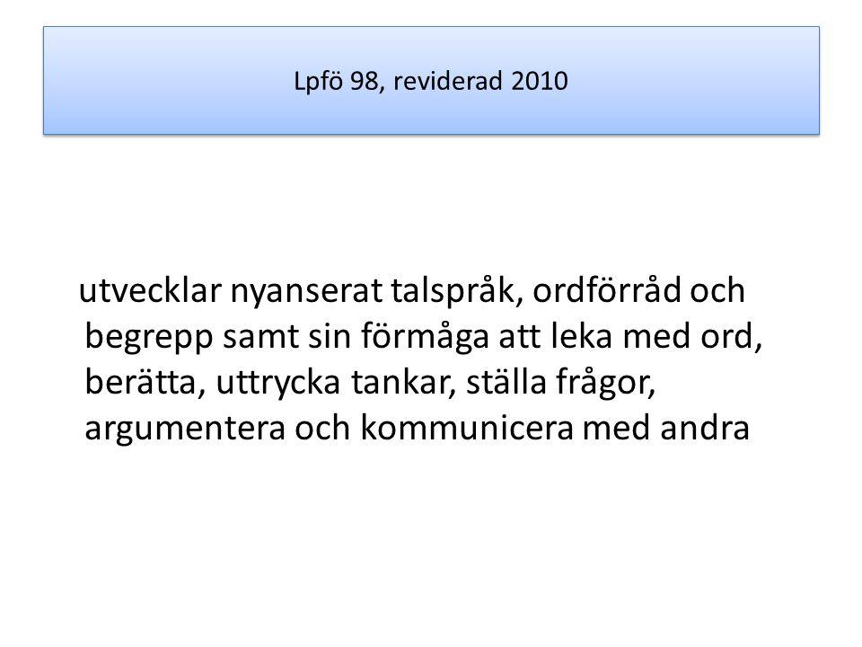 Lpfö 98, reviderad 2010