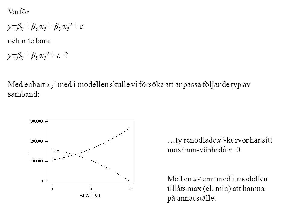 Varför y=β0 + β3·x3 + β5·x32 + ε. och inte bara. y=β0 + β5·x32 + ε