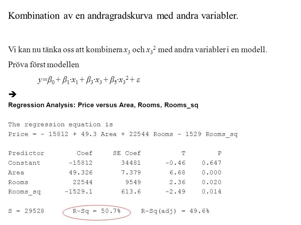 Kombination av en andragradskurva med andra variabler.