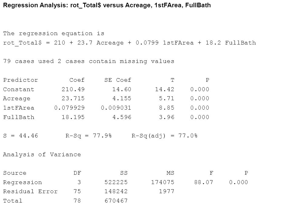Regression Analysis: rot_Total$ versus Acreage, 1stFArea, FullBath
