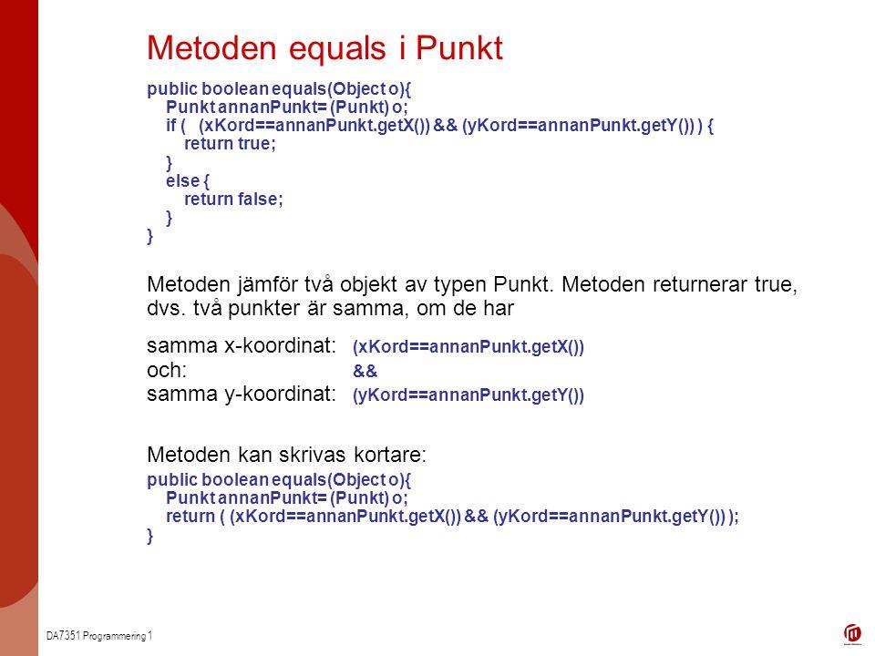Metoden equals i Punkt