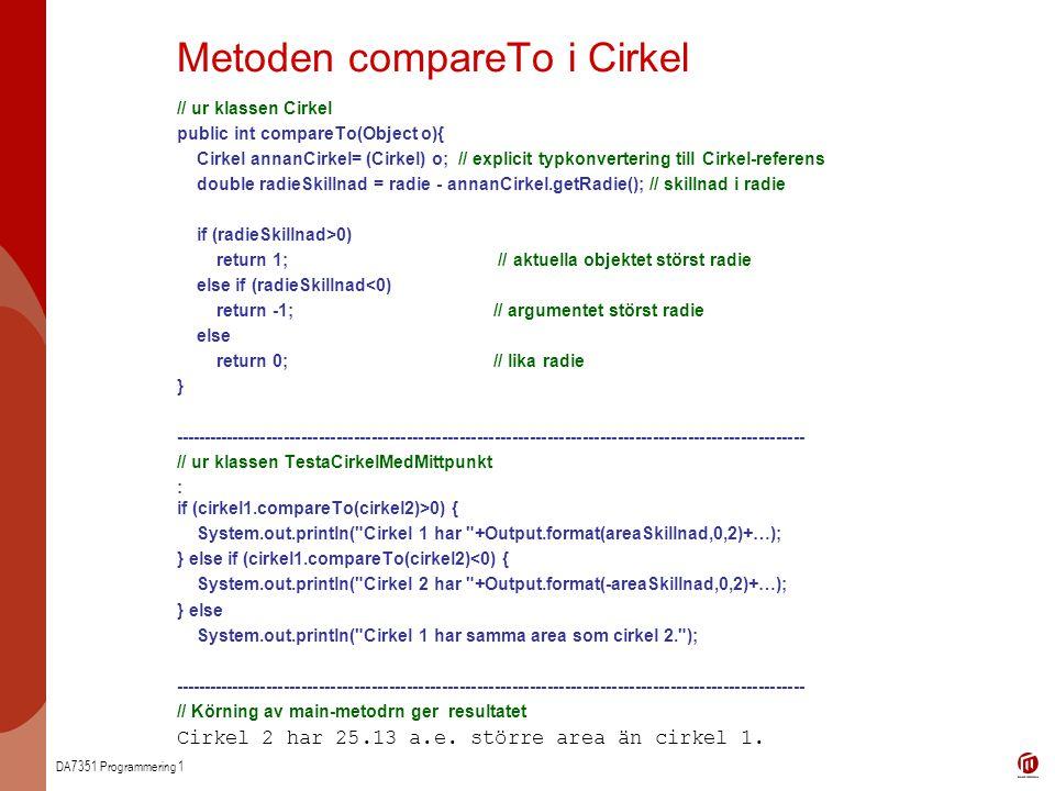 Metoden compareTo i Cirkel